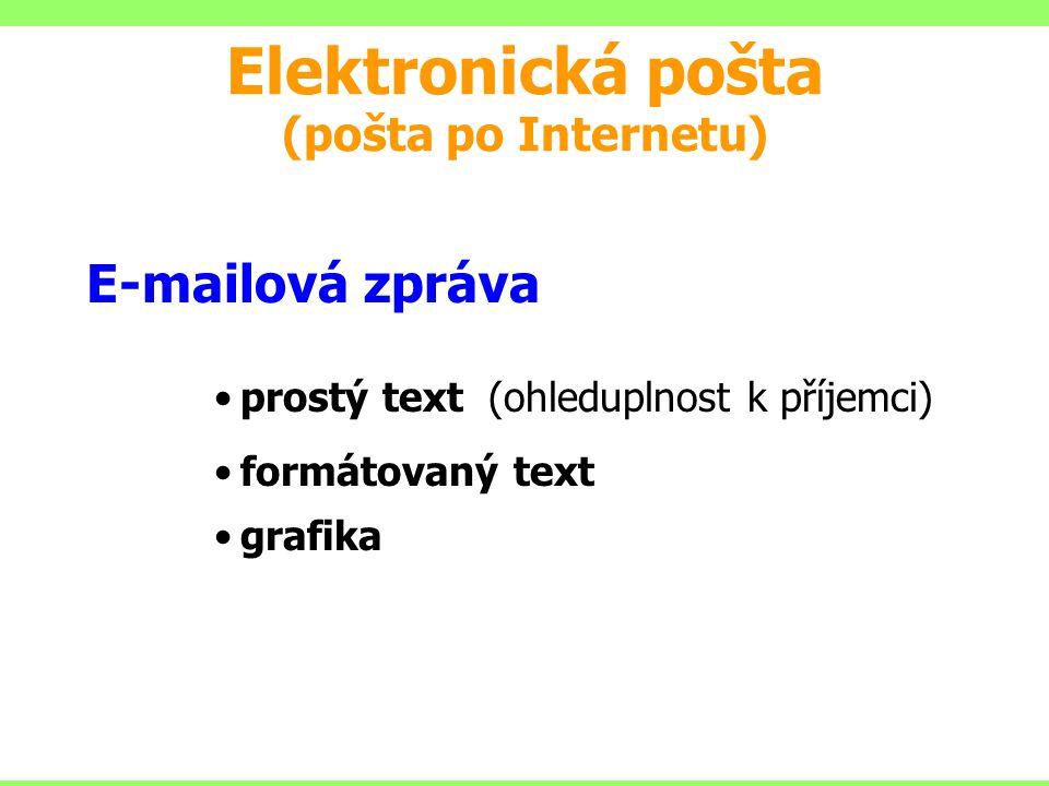 E-mailová zpráva prostý text (ohleduplnost k příjemci) formátovaný text grafika Elektronická pošta (pošta po Internetu)