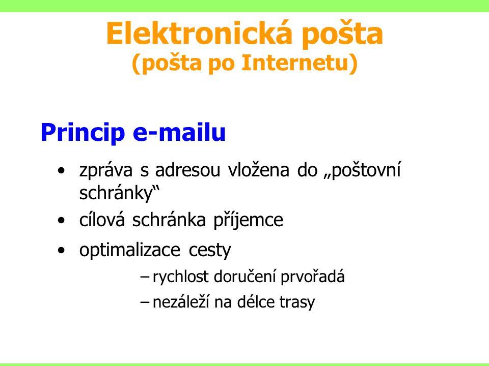 """Princip e-mailu zpráva s adresou vložena do """"poštovní schránky"""" cílová schránka příjemce optimalizace cesty –rychlost doručení prvořadá –nezáleží na d"""