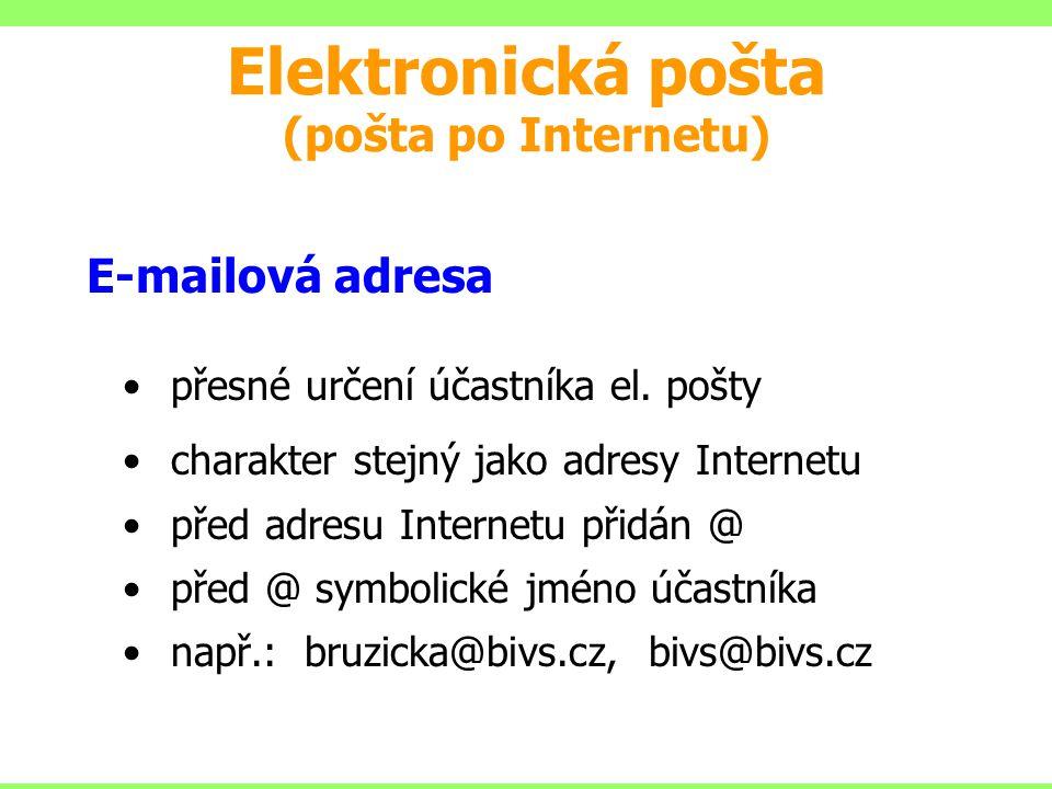 E-mailová adresa přesné určení účastníka el. pošty charakter stejný jako adresy Internetu před adresu Internetu přidán @ před @ symbolické jméno účast