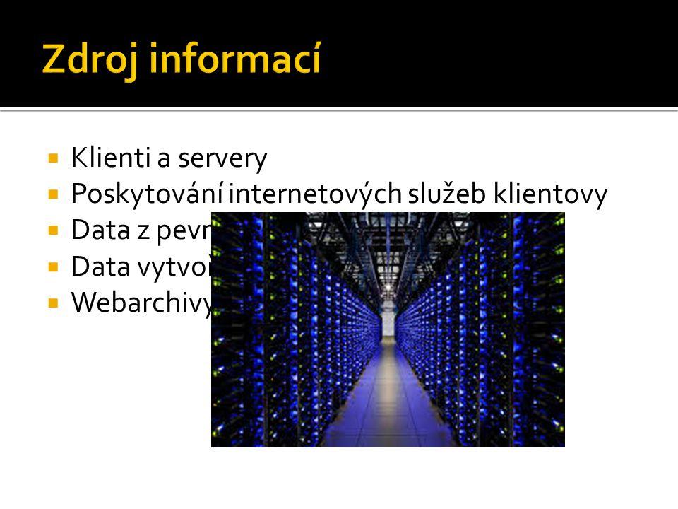  Klienti a servery  Poskytování internetových služeb klientovy  Data z pevného disku  Data vytvořená za chodu serveru  Webarchivy