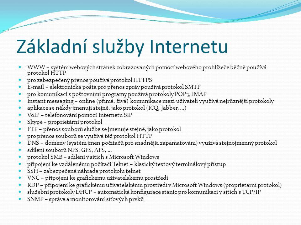 Základní služby Internetu WWW – systém webových stránek zobrazovaných pomocí webového prohlížeče běžně používá protokol HTTP pro zabezpečený přenos po