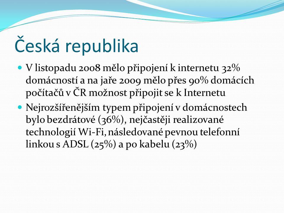 Česká republika V listopadu 2008 mělo připojení k internetu 32% domácností a na jaře 2009 mělo přes 90% domácích počítačů v ČR možnost připojit se k I