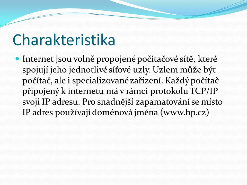 Charakteristika Internet jsou volně propojené počítačové sítě, které spojují jeho jednotlivé síťové uzly. Uzlem může být počítač, ale i specializované