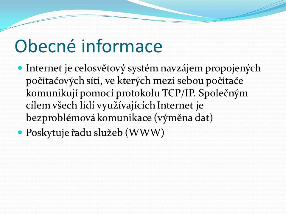 Obecné informace Internet je celosvětový systém navzájem propojených počítačových sítí, ve kterých mezi sebou počítače komunikují pomocí protokolu TCP