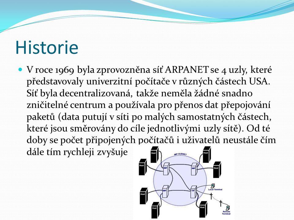 Historie V roce 1969 byla zprovozněna síť ARPANET se 4 uzly, které představovaly univerzitní počítače v různých částech USA. Síť byla decentralizovaná