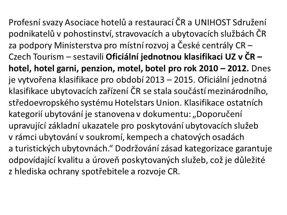 Význam klasifikace napomáhá v sezóně, při veletrzích a kongresech lépe využít kompletní regionální nabídku lůžek zprostředkuje důkaz o kvalitě a úrovni poskytovaných služeb v českém hotelnictví je důležitým krokem k úspěšnému prosazení české nabídky ubytovacích kapacit na mezinárodních trzích nahradí divoké zařazování jednotlivých UZ v ČR objektivním systémem stane se podnětem i investicí a motivací ke zvýšení výkonu, hoteliér dostane možnost porovnat vybavení a úroveň poskytovaných služeb svého hotelu s požadavky pro jednotlivé kategorie a odstranit slabá místa na svobodném základě zabraňuje v zájmu podnikání státním zásahům a regulacím na evropské úrovni