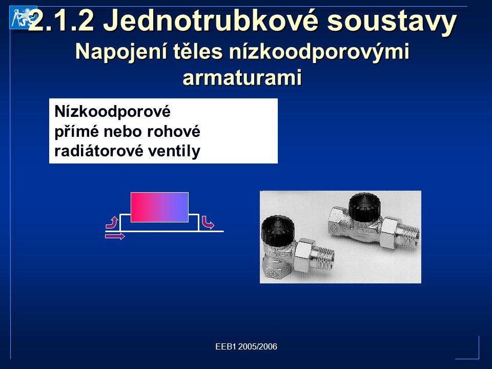 EEB1 2005/2006 2.1.2 Jednotrubkové soustavy Napojení těles nízkoodporovými armaturami Nízkoodporové přímé nebo rohové radiátorové ventily