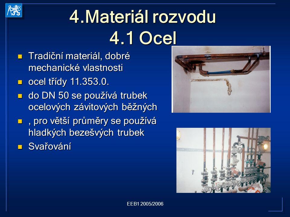 EEB1 2005/2006 4.Materiál rozvodu 4.1 Ocel Tradiční materiál, dobré mechanické vlastnosti Tradiční materiál, dobré mechanické vlastnosti ocel třídy 11.353.0.