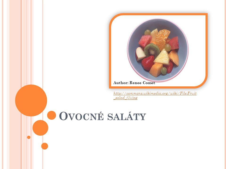 CHARAKTERISTIKA na přípravu ovocných salátů jsou vhodné téměř všechny druhy čerstvého i kompotovaného ovoce ovocné saláty připravujeme z jednoho nebo více druhů ovoce podáváme ve skleněných miskách, dobře vychlazené saláty dělíme do dvou skupin: - vázané sladkým nálevem - vázané smetanovou majonézou