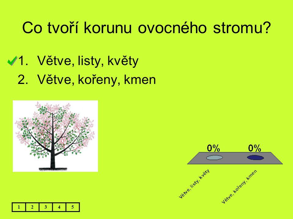 Co tvoří korunu ovocného stromu? 12345 1.Větve, listy, květy 2.Větve, kořeny, kmen