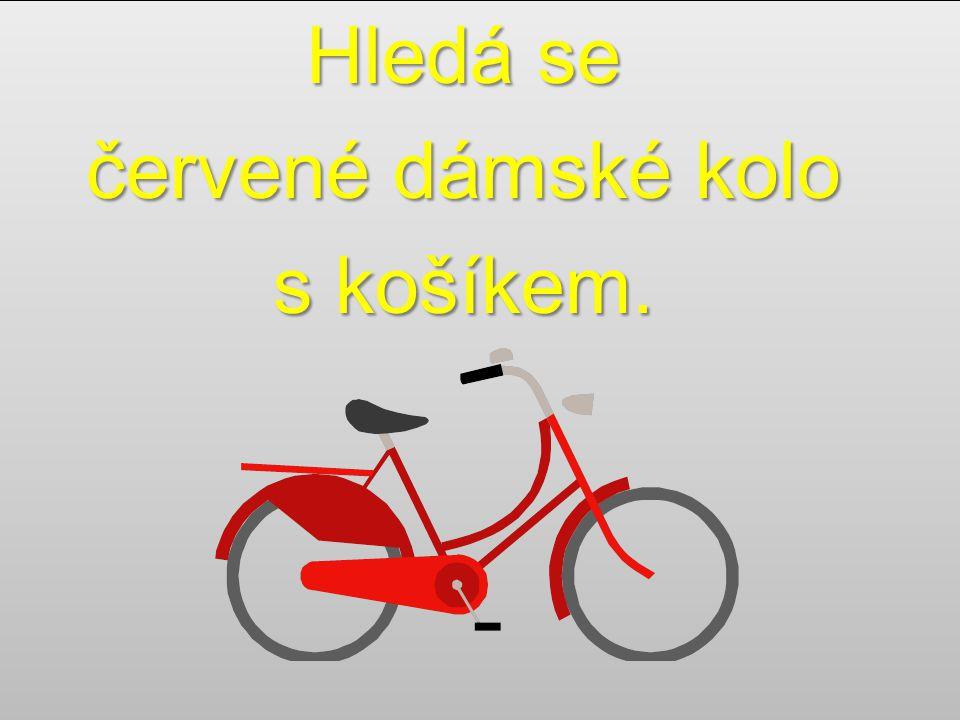 Hledá se červené dámské kolo s košíkem. Hledá se červené dámské kolo s košíkem.