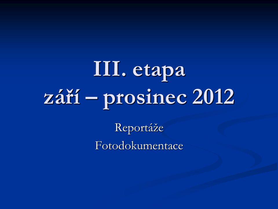III. etapa září – prosinec 2012 ReportážeFotodokumentace