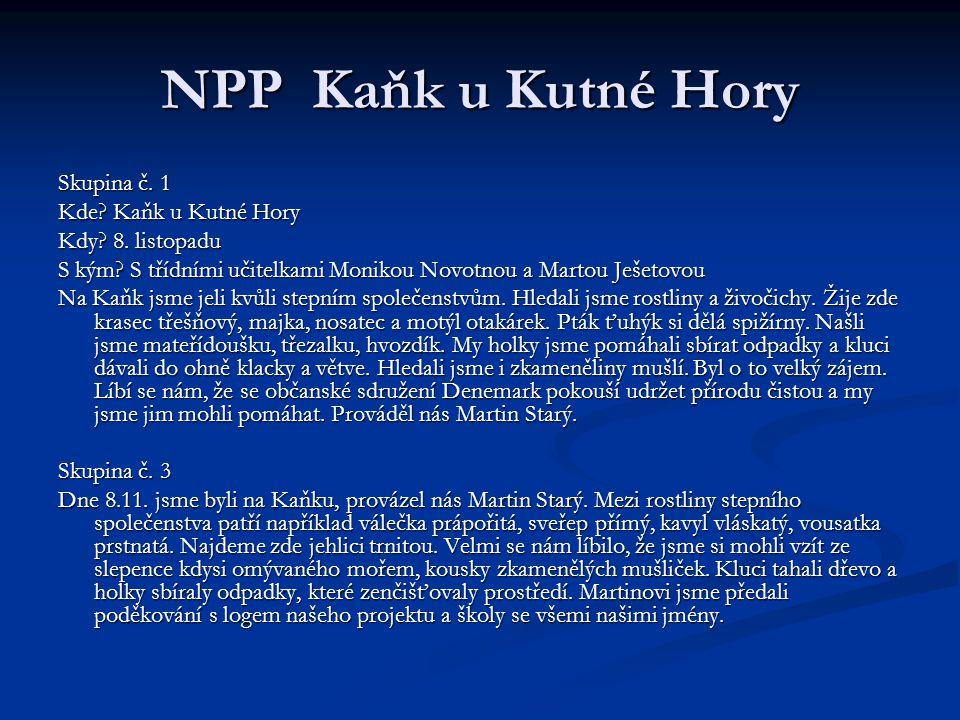 NPP Kaňk u Kutné Hory Skupina č. 1 Kde. Kaňk u Kutné Hory Kdy.
