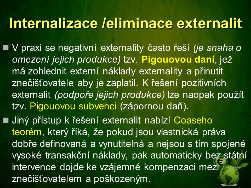 Internalizace /eliminace externalit V praxi se negativní externality často řeší (je snaha o omezení jejich produkce) tzv. Pigouovou daní, jež má zohle