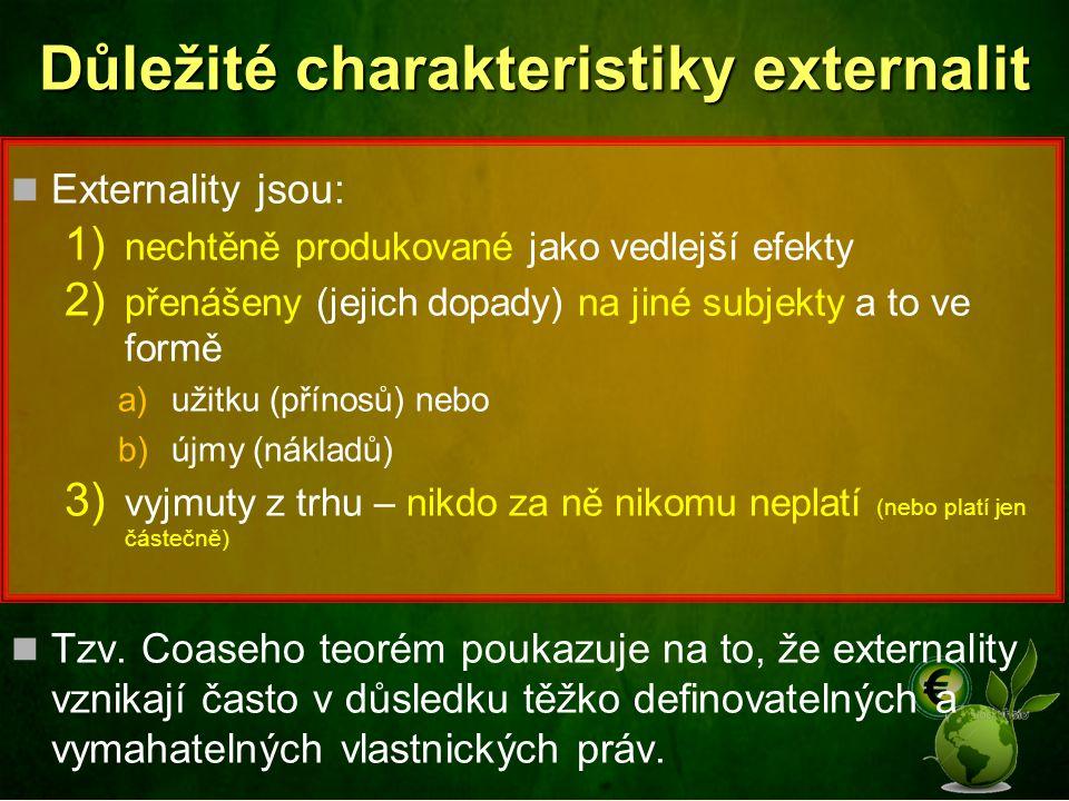 Důležité charakteristiky externalit Externality jsou: 1) nechtěně produkované jako vedlejší efekty 2) přenášeny (jejich dopady) na jiné subjekty a to