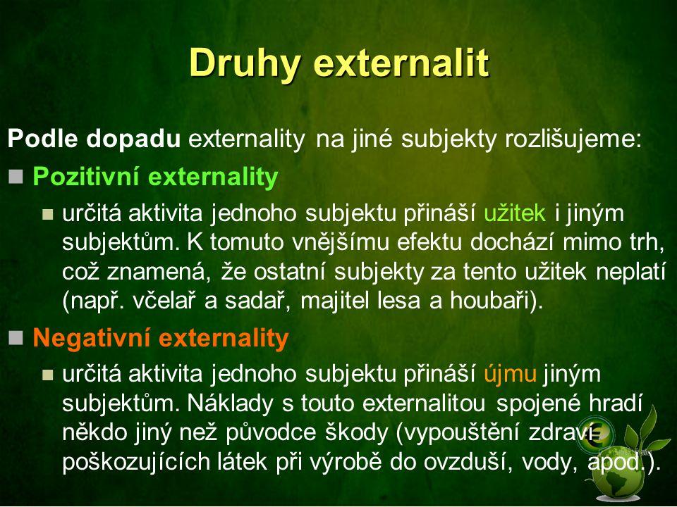 Druhy externalit Podle dopadu externality na jiné subjekty rozlišujeme: Pozitivní externality určitá aktivita jednoho subjektu přináší užitek i jiným