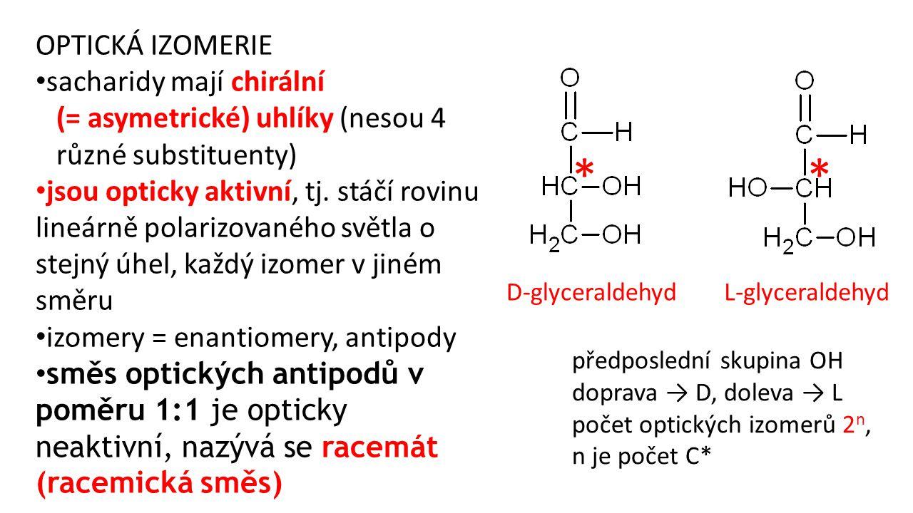 OPTICKÁ IZOMERIE sacharidy mají chirální (= asymetrické) uhlíky (nesou 4 různé substituenty) jsou opticky aktivní, tj. stáčí rovinu lineárně polarizov