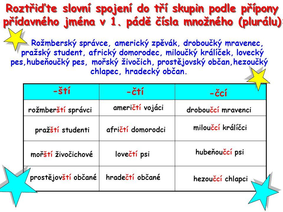 Roztřiďte slovní spojení do tří skupin podle přípony přídavného jména v 1.
