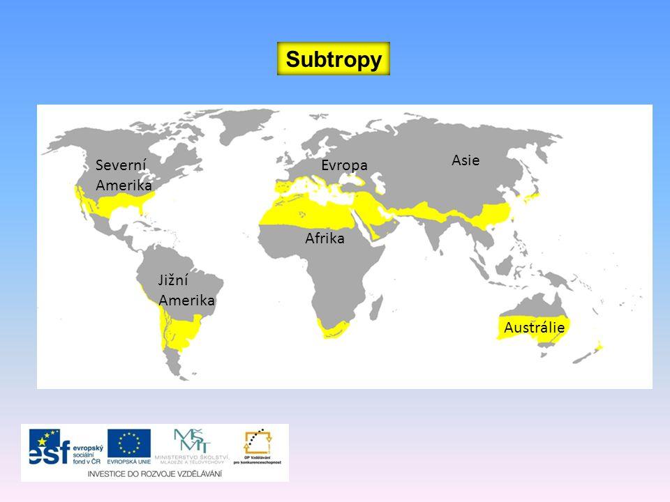 Subtropy Afrika Severní Amerika Jižní Amerika Austrálie Asie Evropa