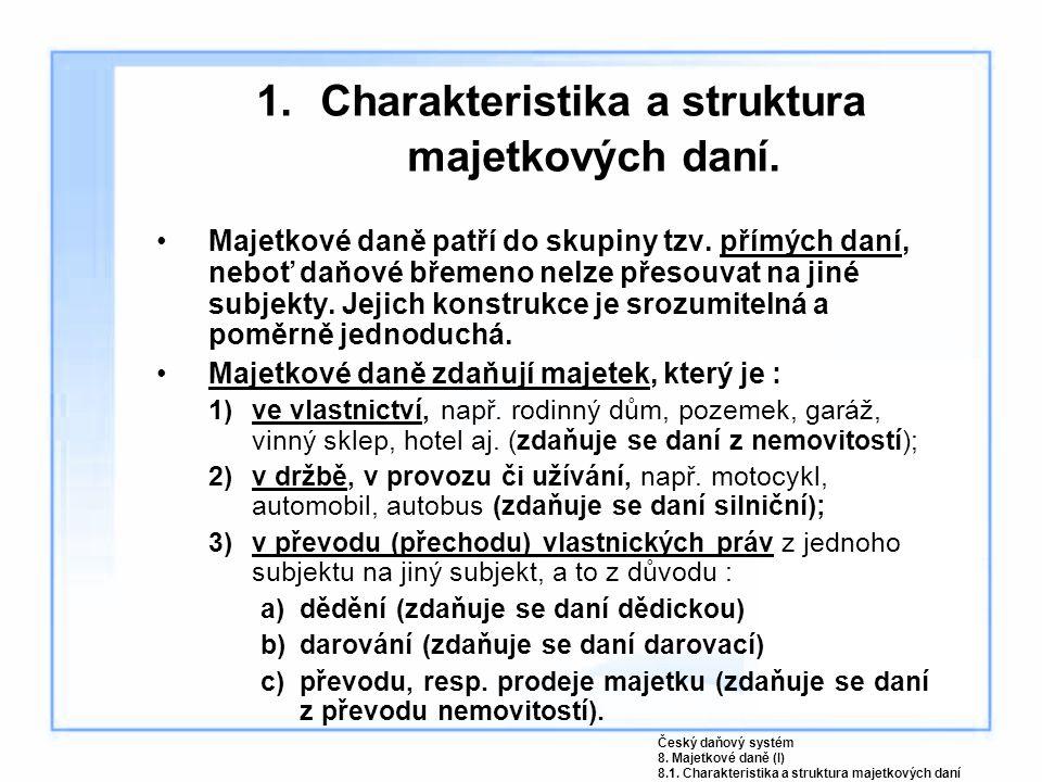 1. Charakteristika a struktura majetkových daní. Majetkové daně patří do skupiny tzv. přímých daní, neboť daňové břemeno nelze přesouvat na jiné subje