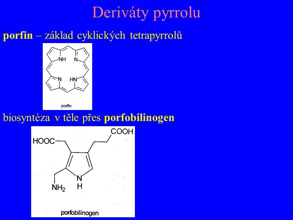 Deriváty pyrrolu porfin – základ cyklických tetrapyrrolů biosyntéza v těle přes porfobilinogen