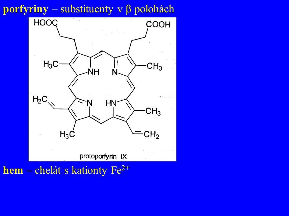 porfyriny – substituenty v β polohách hem – chelát s kationty Fe 2+