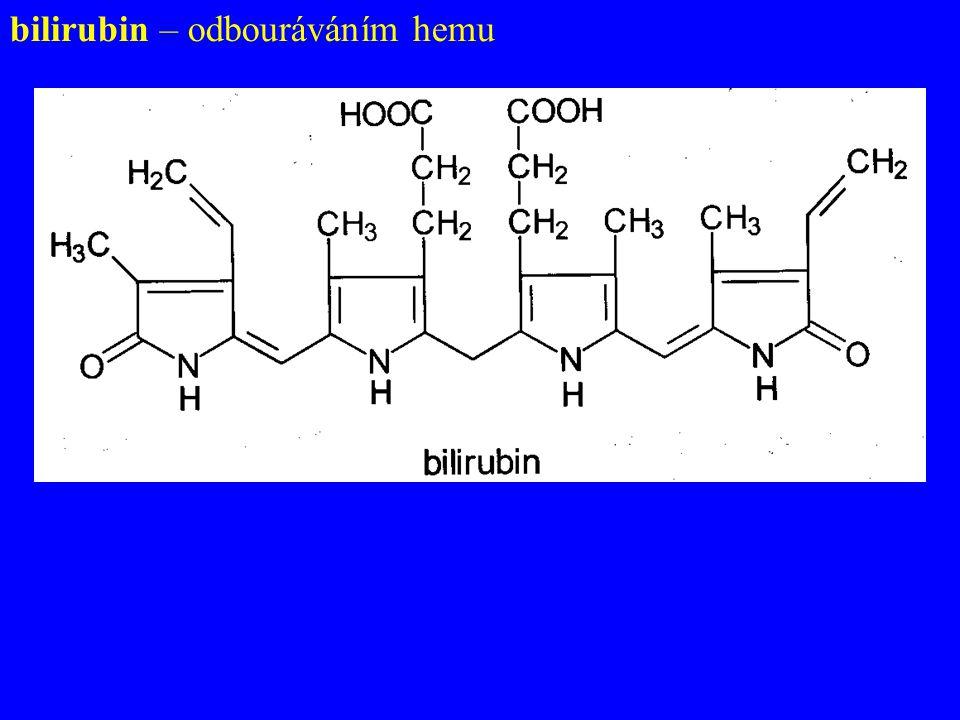 bilirubin – odbouráváním hemu