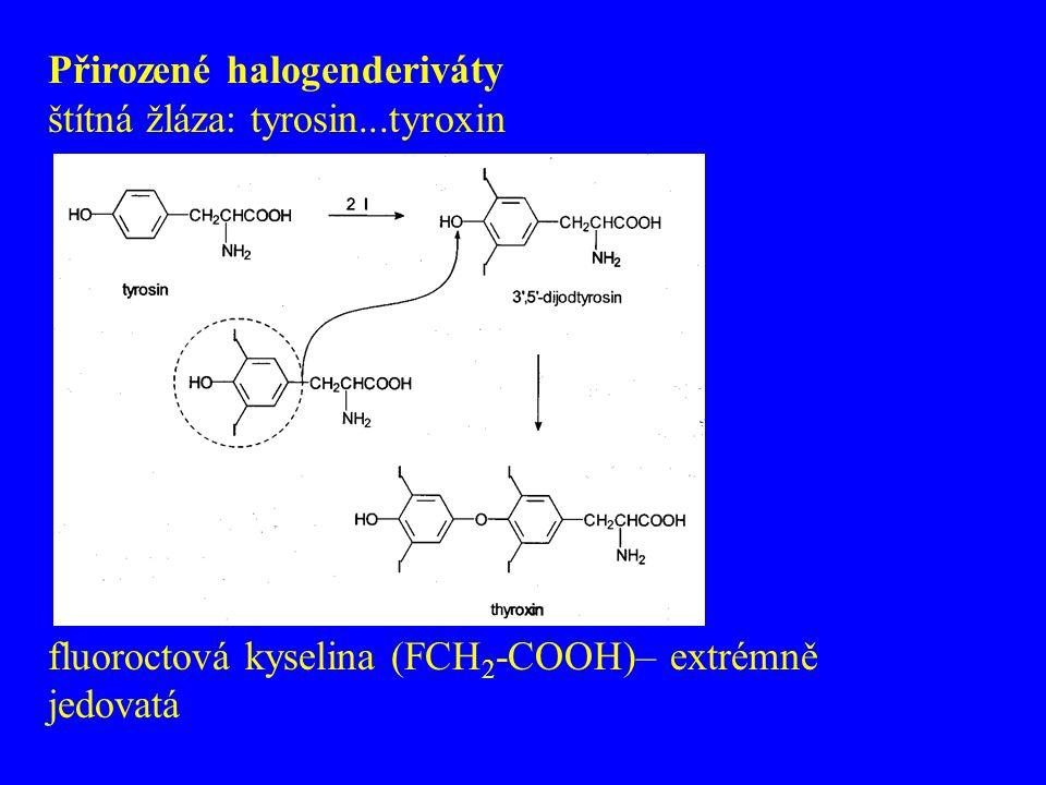 Přirozené halogenderiváty štítná žláza: tyrosin...tyroxin fluoroctová kyselina (FCH 2 -COOH)– extrémně jedovatá