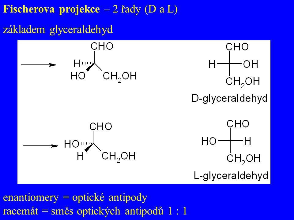Fischerova projekce – 2 řady (D a L) základem glyceraldehyd enantiomery = optické antipody racemát = směs optických antipodů 1 : 1