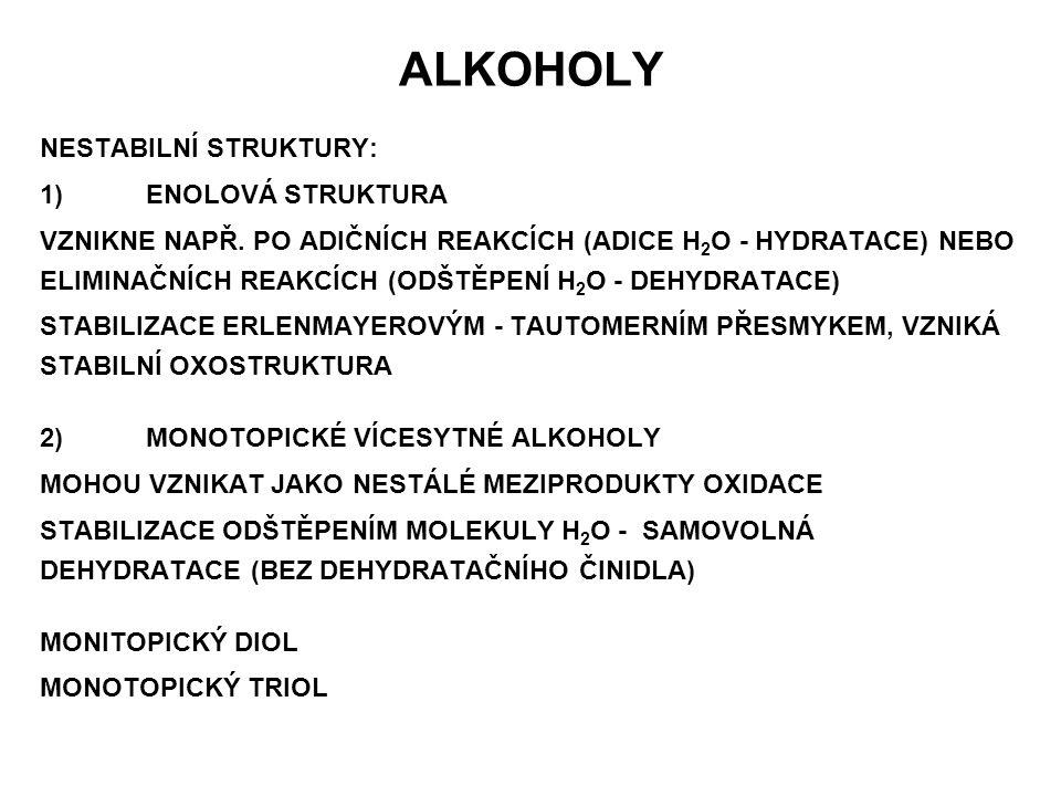 VZNIK ALKOHOLŮ HYDROLÝZA ESTERŮ (KYSELÁ NEBO ALKALICKÁ) R 1 - COOR 2 + H 2 O + H + →R 1 - COOH + R 2 - OH(v kyselém prostředí) kyselinaalkohol R 1 - COOR 2 + H 2 O + OH - →R 1 - COO - + R 2 - OH(v alkalickém prostředí) sůl kyselinyalkohol ZMÝDELŇOVÁNÍ TUKŮ HYDROLÝZA ALKYLHALOGENIDŮ R - X + H 2 O + OH - → R - OH+ X - sůl (halogenid) alkohol