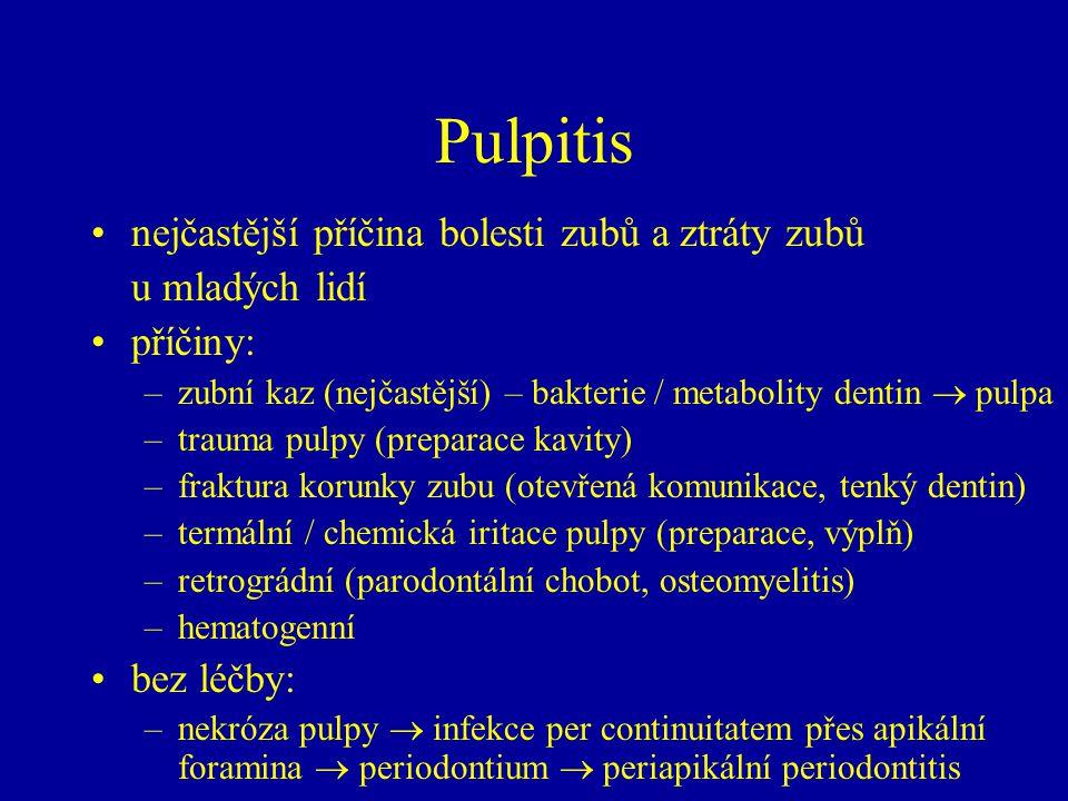 Pulpitis nejčastější příčina bolesti zubů a ztráty zubů u mladých lidí příčiny: –zubní kaz (nejčastější) – bakterie / metabolity dentin  pulpa –trauma pulpy (preparace kavity) –fraktura korunky zubu (otevřená komunikace, tenký dentin) –termální / chemická iritace pulpy (preparace, výplň) –retrográdní (parodontální chobot, osteomyelitis) –hematogenní bez léčby: –nekróza pulpy  infekce per continuitatem přes apikální foramina  periodontium  periapikální periodontitis