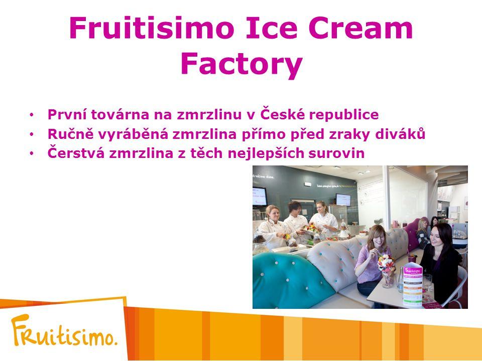 Fruitisimo Ice Cream Factory První továrna na zmrzlinu v České republice Ručně vyráběná zmrzlina přímo před zraky diváků Čerstvá zmrzlina z těch nejle