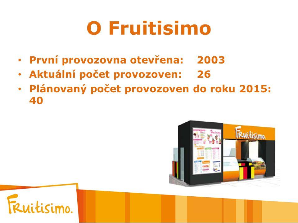 O Fruitisimo První provozovna otevřena: 2003 Aktuální počet provozoven:26 Plánovaný počet provozoven do roku 2015: 40