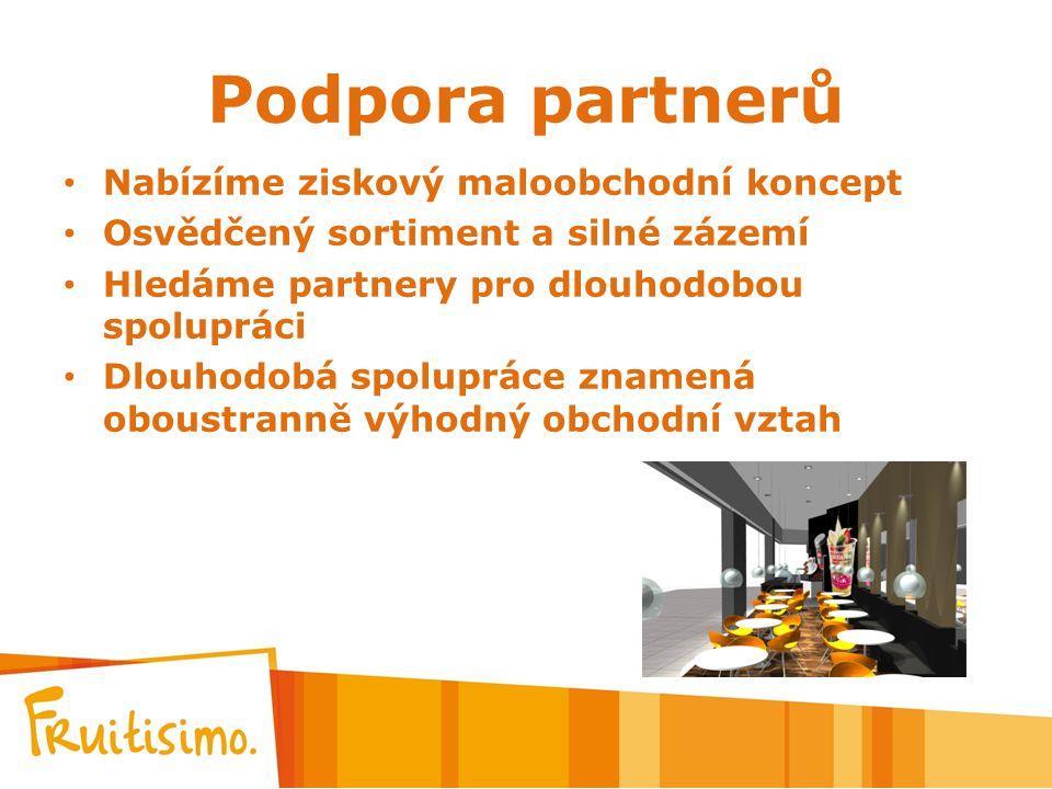 Podpora partnerů Nabízíme ziskový maloobchodní koncept Osvědčený sortiment a silné zázemí Hledáme partnery pro dlouhodobou spolupráci Dlouhodobá spolu