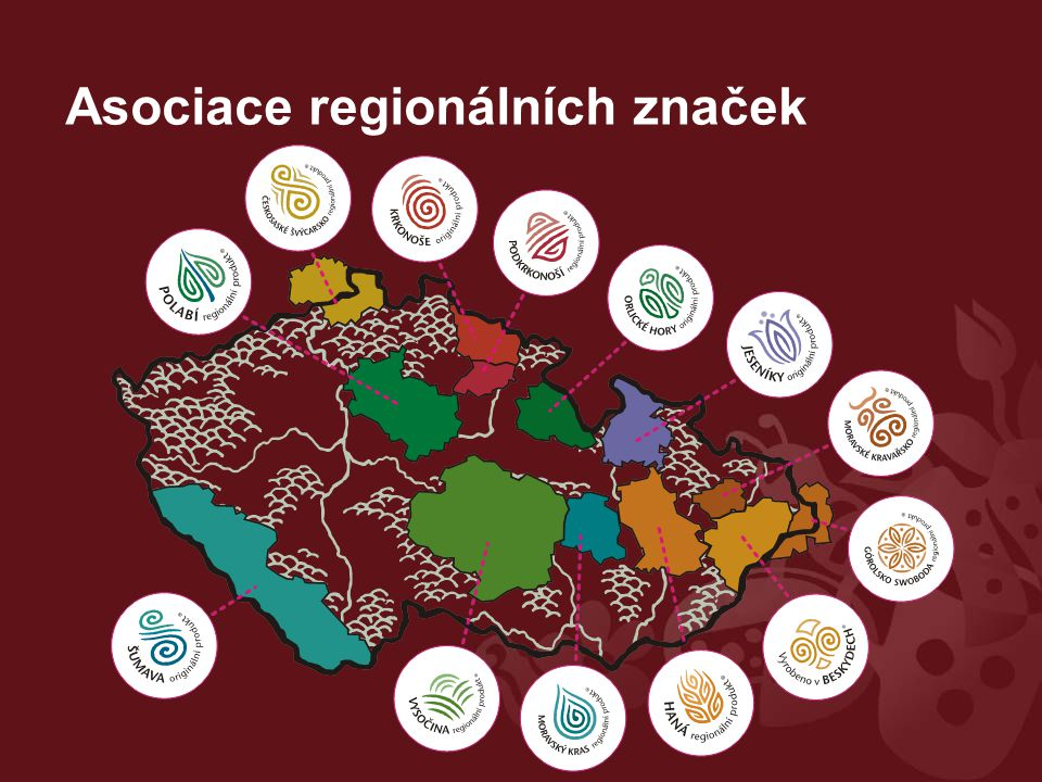 Ekonomický rozměr podpora místních drobných podnikatelů (zviditelnění a efektivní reklama, zvýšení prestiže jejich produktů) podpora místní ekonomiky, diverzifikace ekonomických činností Sociální rozměr hrdost na region, sounáležitost, vnímání hodnoty místního dědictví (přírodní, kulturní) podpora aktivní spolupráce: podnikatelé (výrobci, prodejci), veřejná správa, neziskový sektor, ochrana přírody Cíle a přínosy regionálního značení I.
