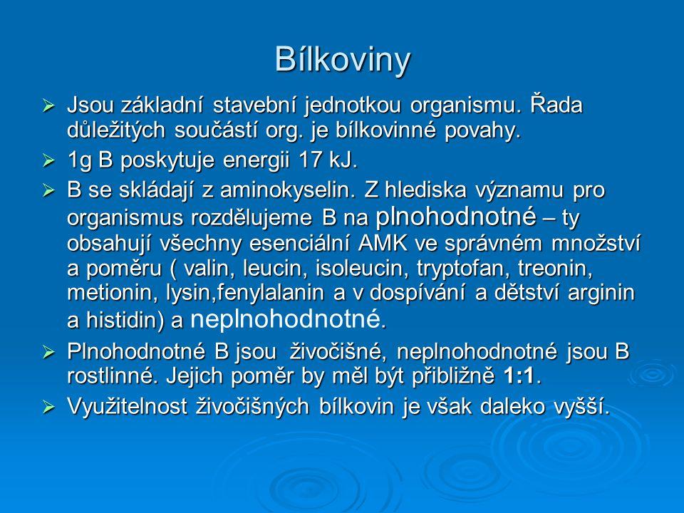 Bílkoviny  Jsou základní stavební jednotkou organismu. Řada důležitých součástí org. je bílkovinné povahy.  1g B poskytuje energii 17 kJ.  B se skl
