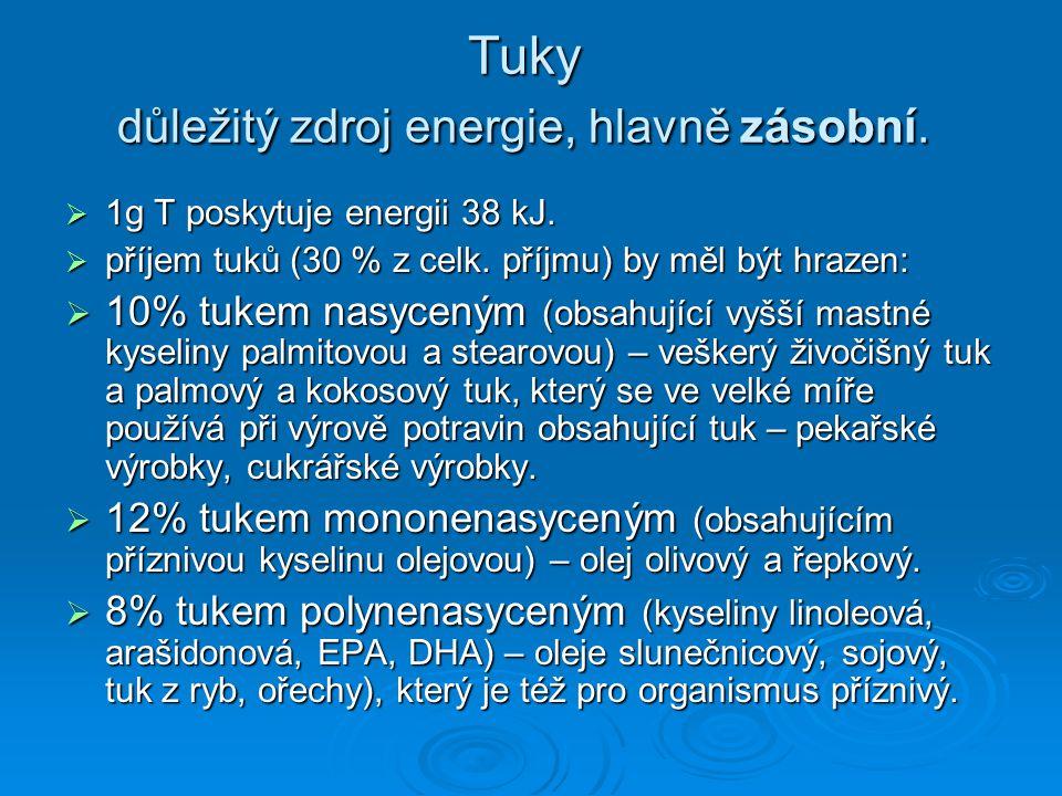 Tuky důležitý zdroj energie, hlavně zásobní.  1g T poskytuje energii 38 kJ.  příjem tuků (30 % z celk. příjmu) by měl být hrazen:  10% tukem nasyce