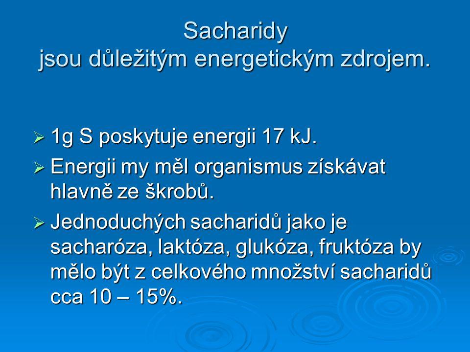 Sacharidy jsou důležitým energetickým zdrojem.  1g S poskytuje energii 17 kJ.  Energii my měl organismus získávat hlavně ze škrobů.  Jednoduchých s