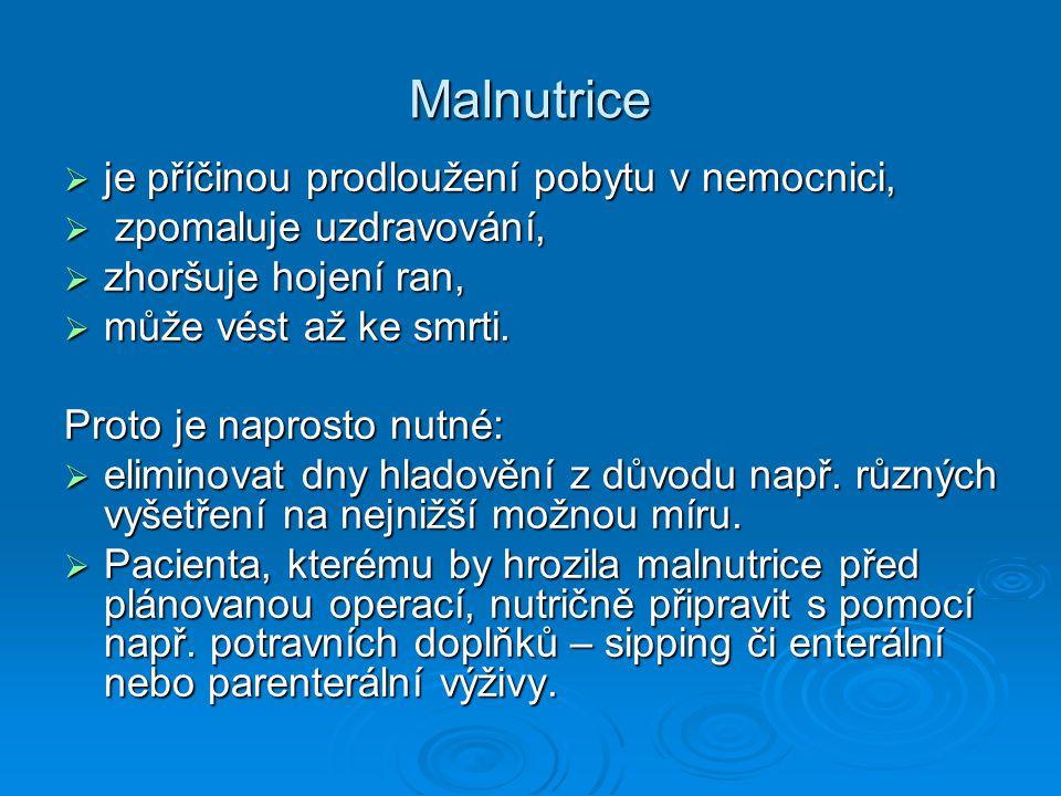Malnutrice  je příčinou prodloužení pobytu v nemocnici,  zpomaluje uzdravování,  zhoršuje hojení ran,  může vést až ke smrti.