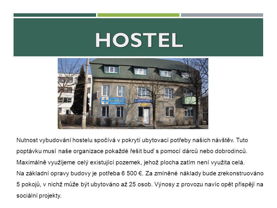 Nutnost vybudování hostelu spočívá v pokrytí ubytovací potřeby našich návštěv. Tuto poptávku musí naše organizace pokaždé řešit buď s pomocí dárců neb