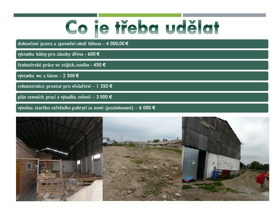 dokončení jezera a zpevnění okolí hlínou – 4 000,00 €výstavba kůlny pro zásoby dřeva - 600 €štukatérské práce ve stájích, seníku - 450 €výstavba wc a