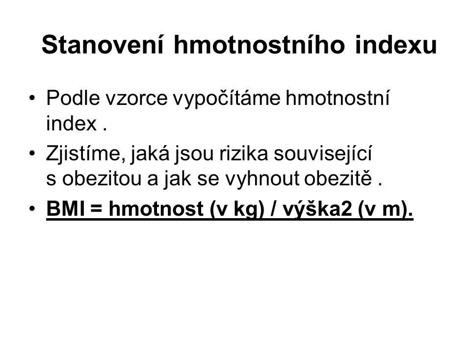 Stanovení hmotnostního indexu Podle vzorce vypočítáme hmotnostní index.