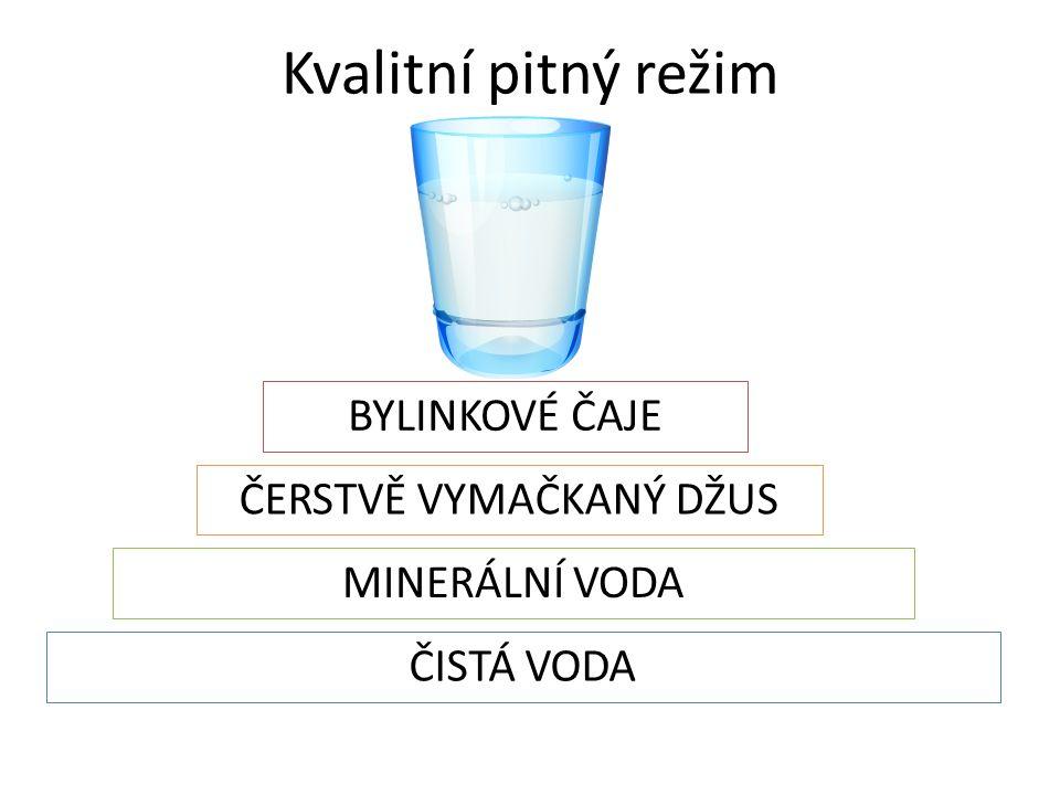 Kvalitní pitný režim ČISTÁ VODA MINERÁLNÍ VODA ČERSTVĚ VYMAČKANÝ DŽUS BYLINKOVÉ ČAJE