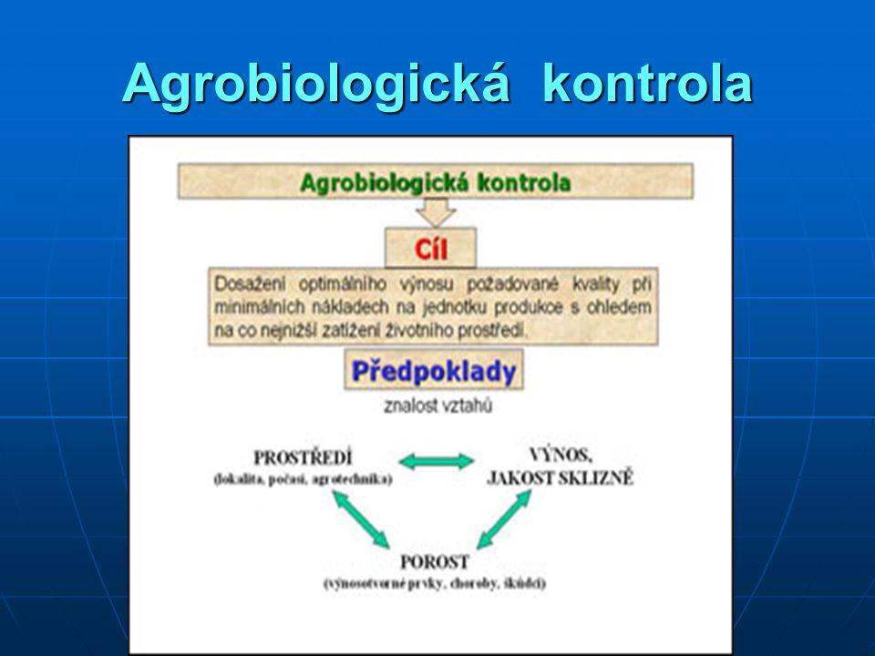 Systém pravidelné kontrolní činnosti o : stavu porostu stavu porostu růstu a vývoji růstu a vývoji zaplevelení, napadení škůdci, výskyt chorob zaplevelení, napadení škůdci, výskyt chorob  rozhodování o agrotechnických a agrochemických opatřeních agrochemických opatřeních Metodiky agrobiologické kontroly pro jednotlivé plodiny.
