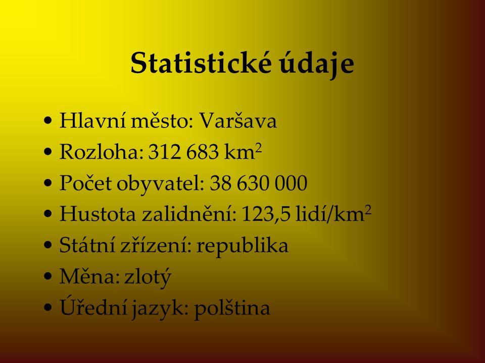 Statistické údaje Hlavní město: Varšava Rozloha: 312 683 km 2 Počet obyvatel: 38 630 000 Hustota zalidnění: 123,5 lidí/km 2 Státní zřízení: republika