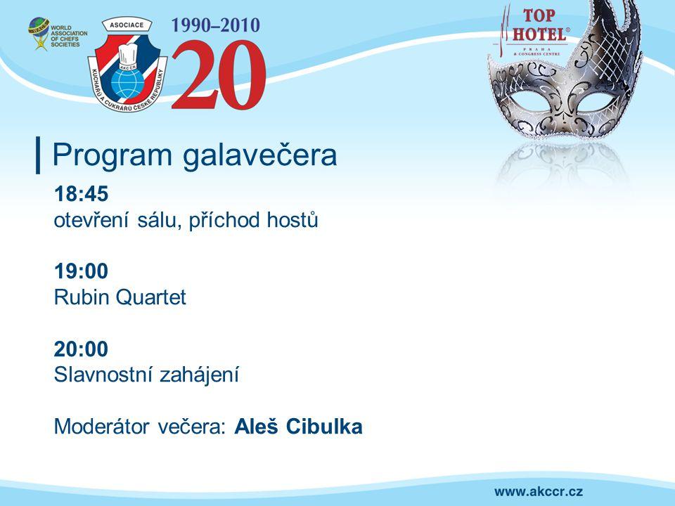 Program galavečera 18:45 otevření sálu, příchod hostů 19:00 Rubin Quartet 20:00 Slavnostní zahájení Moderátor večera: Aleš Cibulka
