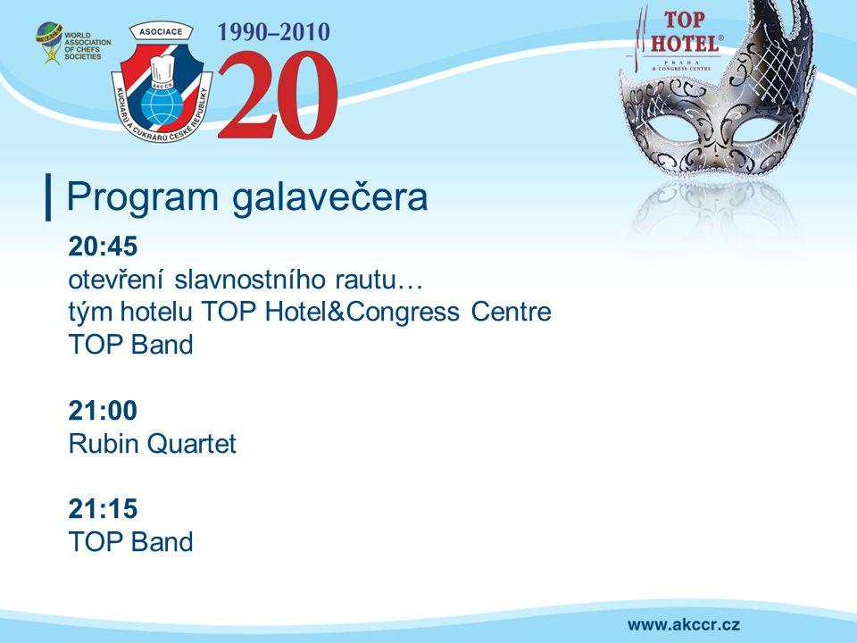 Program galavečera 20:45 otevření slavnostního rautu… tým hotelu TOP Hotel&Congress Centre TOP Band 21:00 Rubin Quartet 21:15 TOP Band