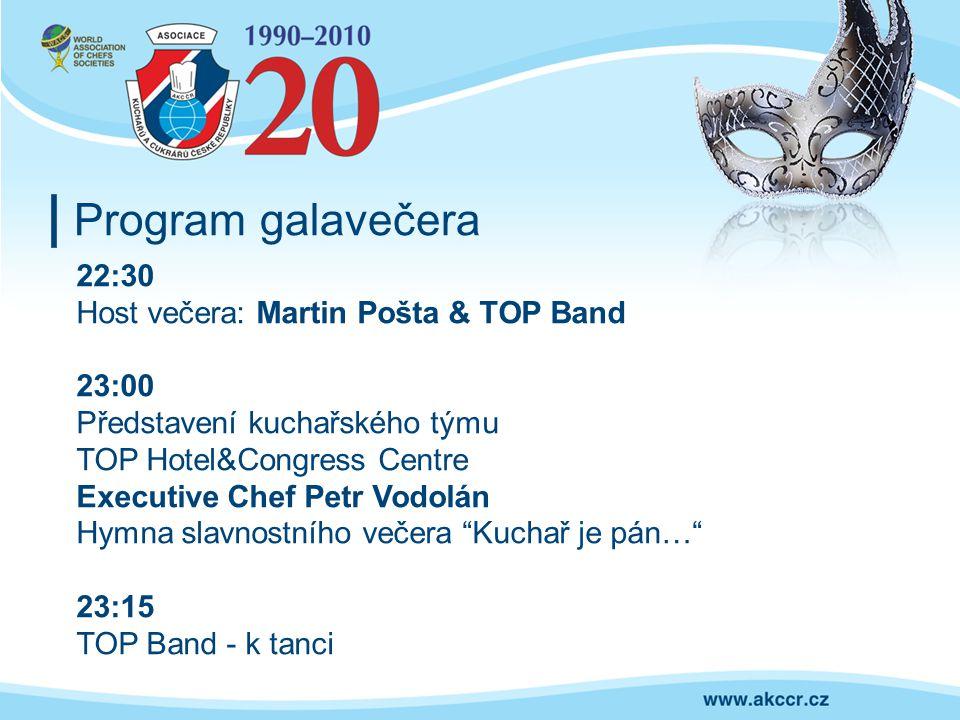 Program galavečera 22:30 Host večera: Martin Pošta & TOP Band 23:00 Představení kuchařského týmu TOP Hotel&Congress Centre Executive Chef Petr Vodolán