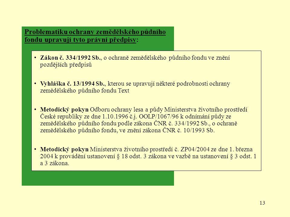 13 Problematiku ochrany zemědělského půdního fondu upravují tyto právní předpisy: Zákon č. 334/1992 Sb., o ochraně zemědělského půdního fondu ve znění