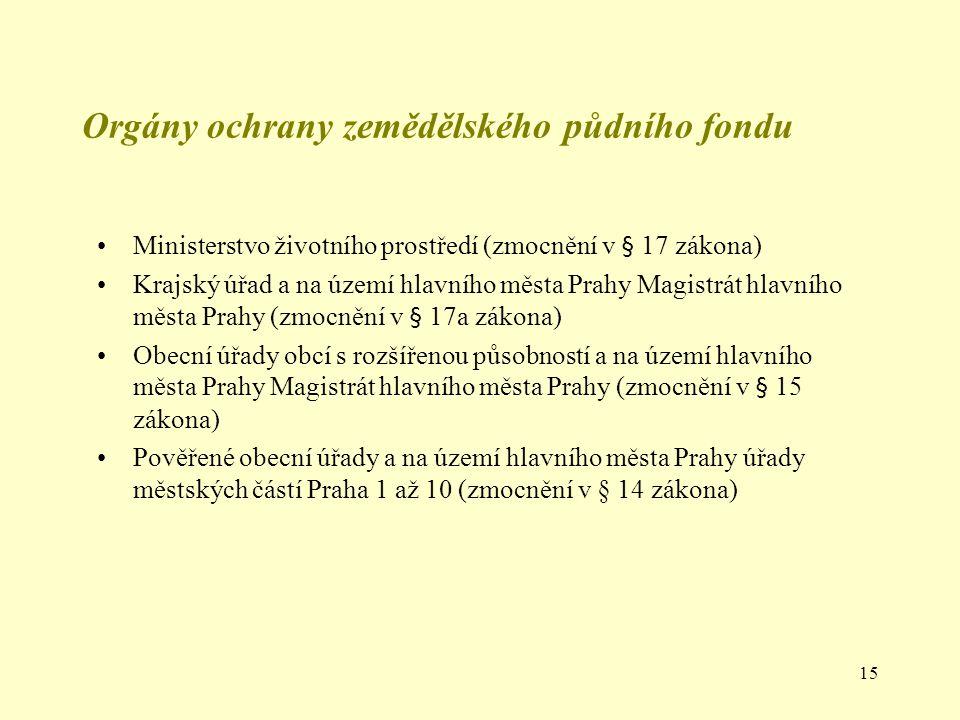 15 Ministerstvo životního prostředí (zmocnění v § 17 zákona) Krajský úřad a na území hlavního města Prahy Magistrát hlavního města Prahy (zmocnění v §